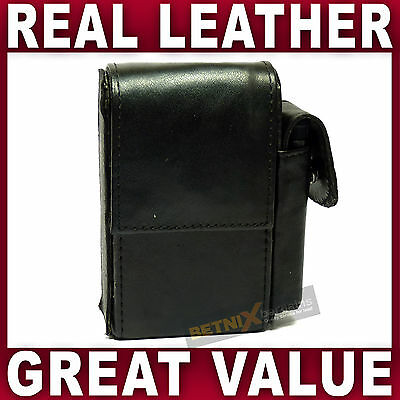 Black LEATHER CIGARETTE CASE with lighter pouch