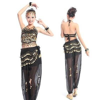 Indian Belly dance Costume 3 pc sets Trousers Beads Bells Top Hip Scarf belt  AU