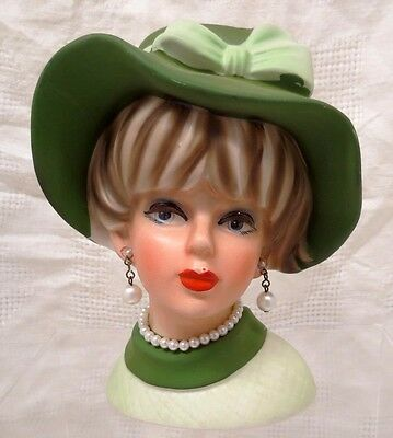 """Napcoware Head Vase Planter 6"""" With Hat, Faux Pearl Necklace & Earrings In Green"""