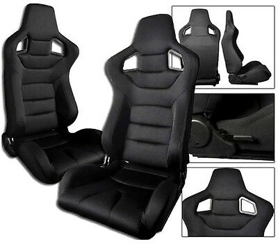 2 Black Cloth Racing Seats RECLINABLE W/ SLIDERS ALL Ford Mustang
