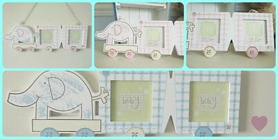 Large Pink Elephant Double Picture Photo Frame New Baby Girl Gift Nursery