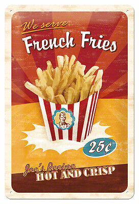 A4 Retro Tin Metal Embossed Sign 'FRENCH FRIES' Americana 20 x 30cm Vintage look