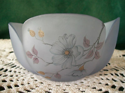 VIKING USA Purple Bowl Shaped Like a Flower FLORAL PAINTING Scalloped Opening