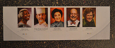 2014USA #4922-4926 Forever Celebrity Chefs - Bottom Plate Strip of 5 - Mint cook