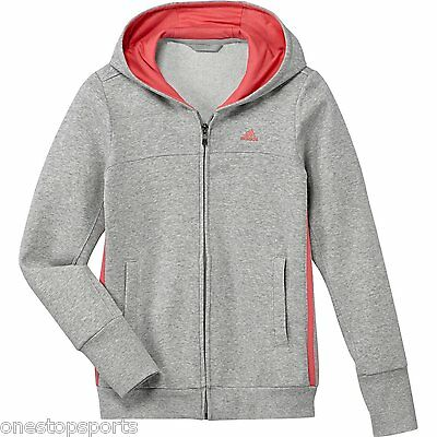 Adidas girls zip up grey/pink hoody. Tracksuit top. Hoodie. Age 7-8 years