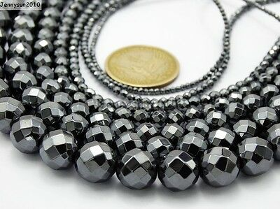 Black Hematite Gemstone Faceted Round Beads 15.5'' 2mm 3mm 4mm 6mm 8mm 10mm 12mm
