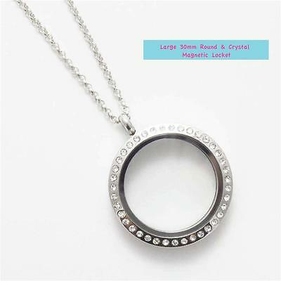 LOT FN05 CHARMED! Large Round Silver & Crystal Locket, Chain & Origami Owl Stone