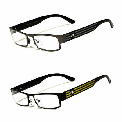 Small Womens Clear Lens Square RX Sunglasses Black Silver Designer Eyeglasses