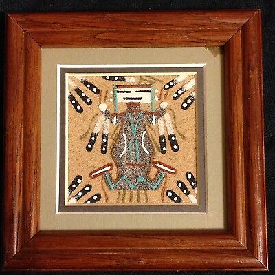 """Vintage Sand Art Painting by Native American Navajo Artist Marcella Foster 5"""""""