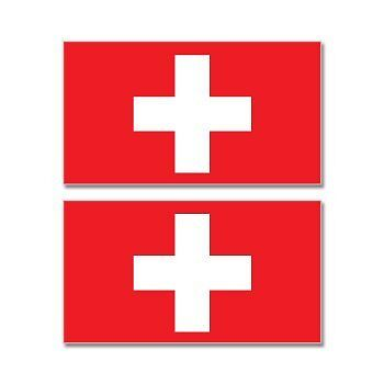 Set of 2 Switzerland Swiss Flag Bumper Sticker Vinyl Car Window Decal BS-50048