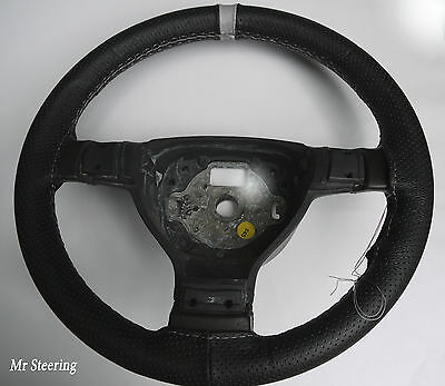 For Vw Golf Mk4 Black Perforated Leather With Grey Stripe Steering Wheel Cover