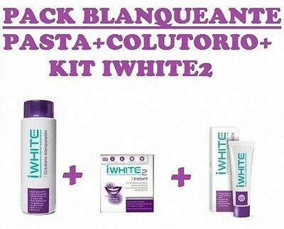 Iwhite2 Pack Blanqueador Pasta , Colutorio + Kit Blanquear Intant Monovarsalud