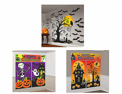Halloween Scene Setter Wall Decorations - Haunted House, Spooky Tree, Cemetery