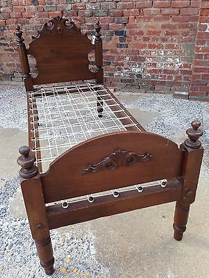 Antique vintage early rope sacking bottom bed walnut 19th c Civil War era childs