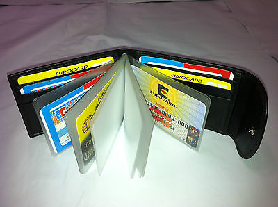 Leather Mini Wallet w/Credit Card & Business Card Holder- Black AEC-23