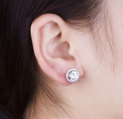 1CT/Piece Round Brilliant Halo SONA Diamond Stud Earrings 925 Sterling Silver