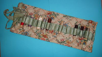 Antique Vtg Gutermann Silk Thread Spools In Old Fabric Floral Holder