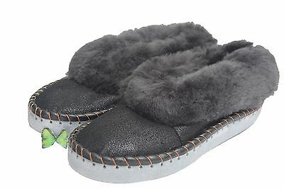 hand-made mens natural leather sheepskin slippers moccasins size 6 -12