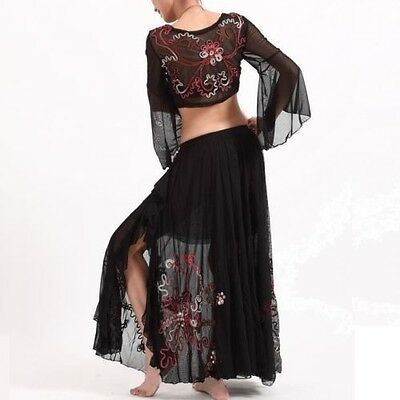 AU 6 Colors Professional Embroidery Belly Dance Costume Set Skirt & Top S M L XL