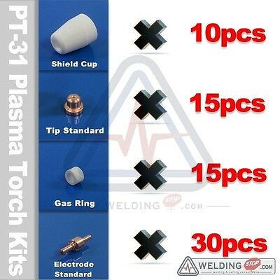 PT-31 Plasma Cutter Torch Consumable Kit Tip Electrode Shield Cup Gas Ring Pkg70