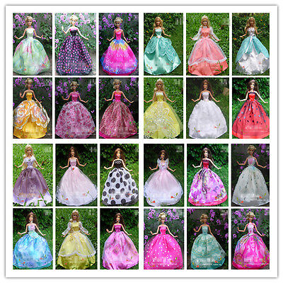 30 PCS 10 Dresses + 10 Hangers + 10 Shoes Handmade Gown Clothing For Barbie Doll