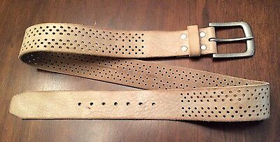 Brave Distressed White Leather Belt Made In Canada Sz 36 NWOT