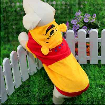 Pet Dog Cat High Quality Warm Cute Yellow Winnie The Pooh Clothes Costume Hooded
