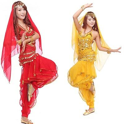 Belly Dance Costume 4 pcs Set Top+ Pant + Hip Scarf + Head Scarf with Gold Coins
