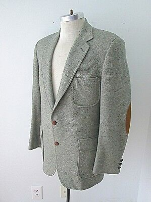 VGC Vtg IZOD Lacoste Gray Herringbone Blazer Suede Elbow Alligator Buttons 40