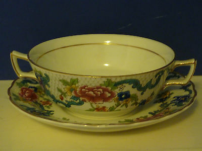 Booths Floradora Soup Cup Bowl and Saucer