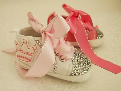 Baby Girls Reborn Pink Blinged Crystal Princess Shoes Boots Trainers 0 - 12 mths