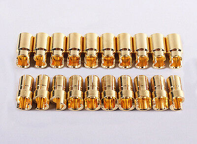 HXT 6mm 160A SPRUNG GOLD BULLET CONNECTORS 10 PAIRS / 20 PIECES