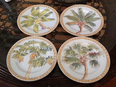 Andrea By Sadek Trade Winds By Siddhia Hutchinson Set Of 4 Ceramic Palm Plates