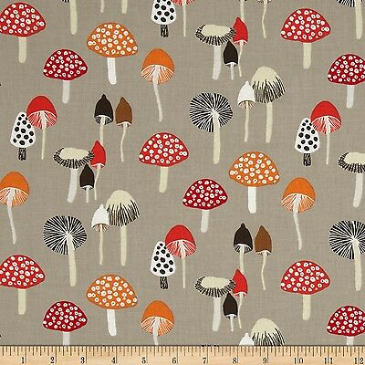 Dear Stella Woodwinked ST-325PEWT Pewter Mushrooms1/2 Yard, Free Shipping