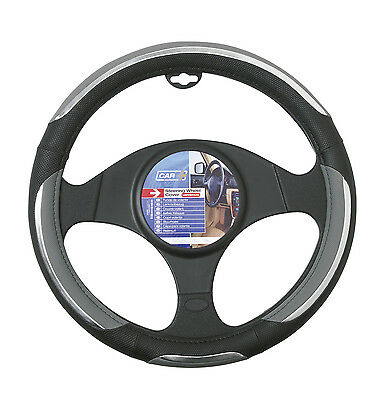 Sumex Branded Snake Soft PVC Car Steering Wheel Sleeve Cover - Grey & Black #70