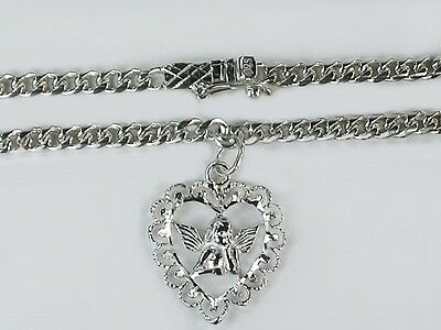 Very solid 5mm Curb chain 925 ster silver angel heart  9 -11inch anklets