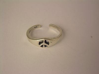 Sterling Silver Adjustable Toe Ring.antique Peace Sign Tr30