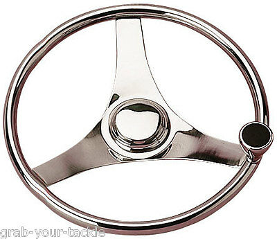 Boat Steering Wheel-Marine Grade Stainless With Control Knob 343mm Dia 3/4 taper