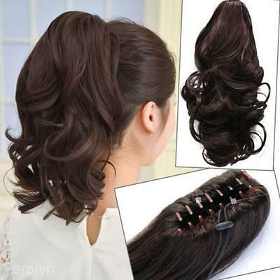 2014 Women Girl Short Curly Ponytail Claw Clip In Hair Extensions Hairpiece Wig