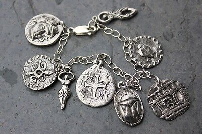 Ancient Civilizations Silver Bracelet- Egyptian, African, Roman charms- handmade
