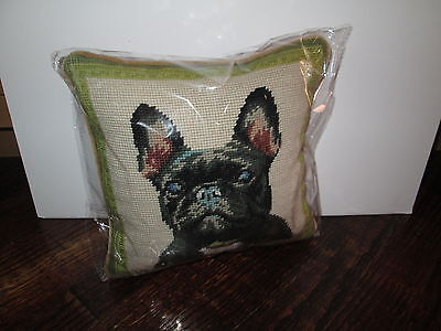 BLACK FRENCH BULLDOG Dog Handmade Needlepoint Pillow 10 by 10  NWT