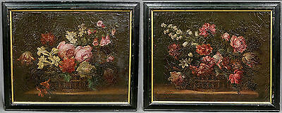 Floral Still Life Pair of European Old Master 19th Century Paintings