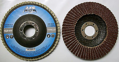 "4-1/2"" x 7/8"" Flap Disc 40 Grit Type 27 AO Professional Grade - You Choose Qty"