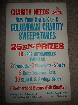 """Vintage 1961 ORIGINAL POSTER- KNIGHTS OF COLUMBUS- NY Sweepstakes 22"""" by 14"""""""