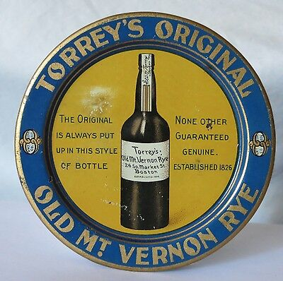 Pre-Prohibition Torrey's Original Old Mt. Vernon Rye Tip Tray