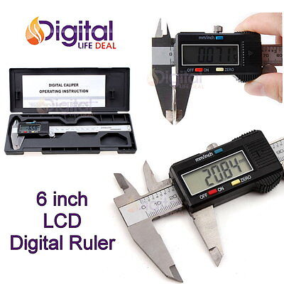 150mm / 6inch LCD Digital Electronic Gauge Stainless Steel Vernier Caliper Ruler