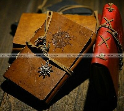 """7x5"""" Nautical Retro Leather Cover Notebook Refillable Journal Blank String Diary"""