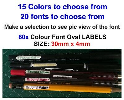 80x or 180x Colour Font Oval Glossy Label Vinyl Stickers, Name For Pencil,Pens,
