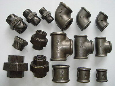 "1/2"" BSP Malleable Iron Pipe Fittings - Black Iron Finish - Threaded Tube Steel"