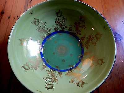 "Vintage Mottahedeh 11"" Serving Bowl Italy Green/Blue/Gold **Gorgeous - Perfect**"